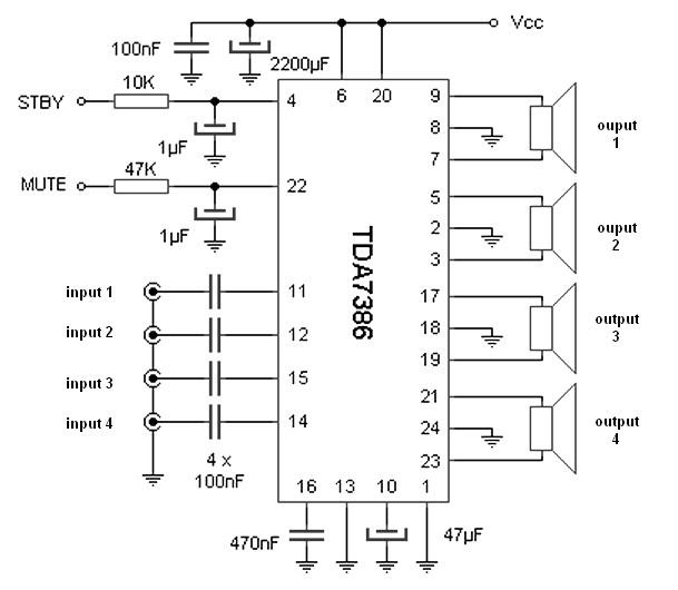 30W 4 channel car amplifier Amplifier Circuit Design