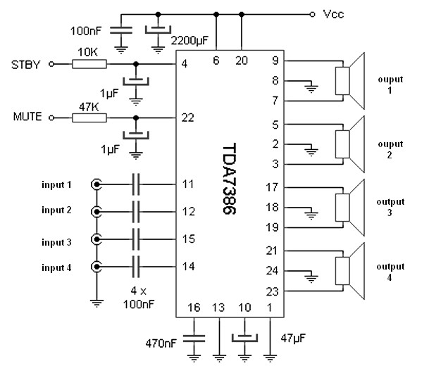 30W amplifier with four ouput