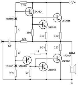 90W amplifier circuit diagram