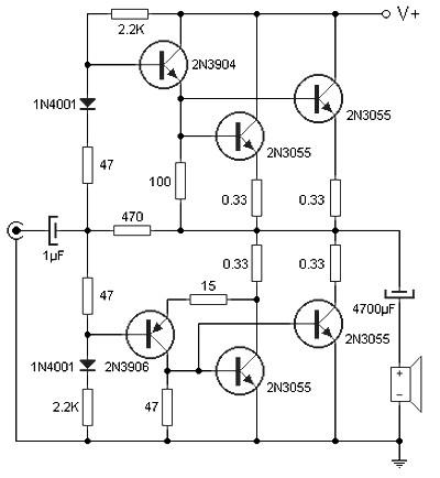 amplifier circuit design amplifier project scheme diagram  90 w audio power amplifier based on transistor