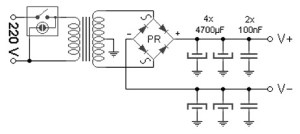 100 W amplifier power supply schematic