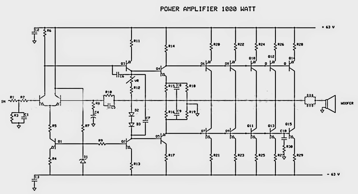 Circuit Diagram: 1000W Power Audio Amplifier Circuit Design
