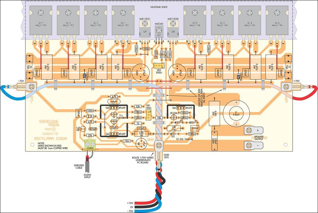 350 Studio Amplifier Top PCB Layout