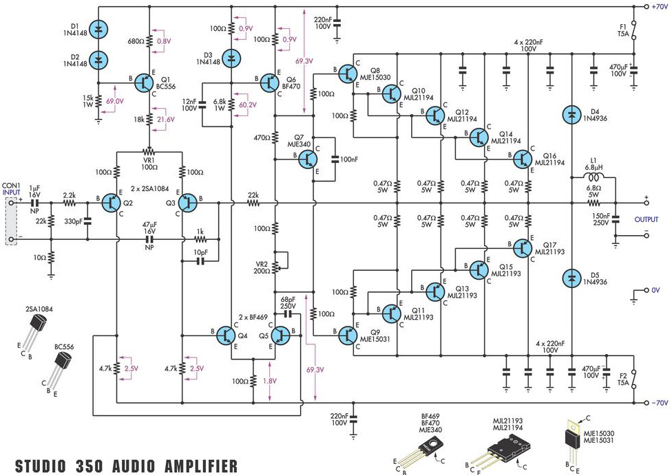 350 Studio Amplifier Circuit Scheme and PCB Layout - Amplifier