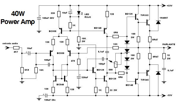 40W Power Amplifier based Transistor TIP33 / TIP34