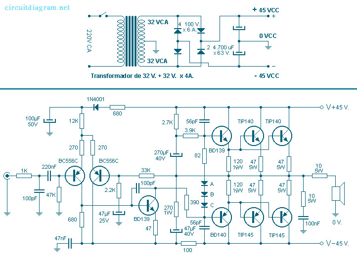 260W Power Audio Amplifier Circuit