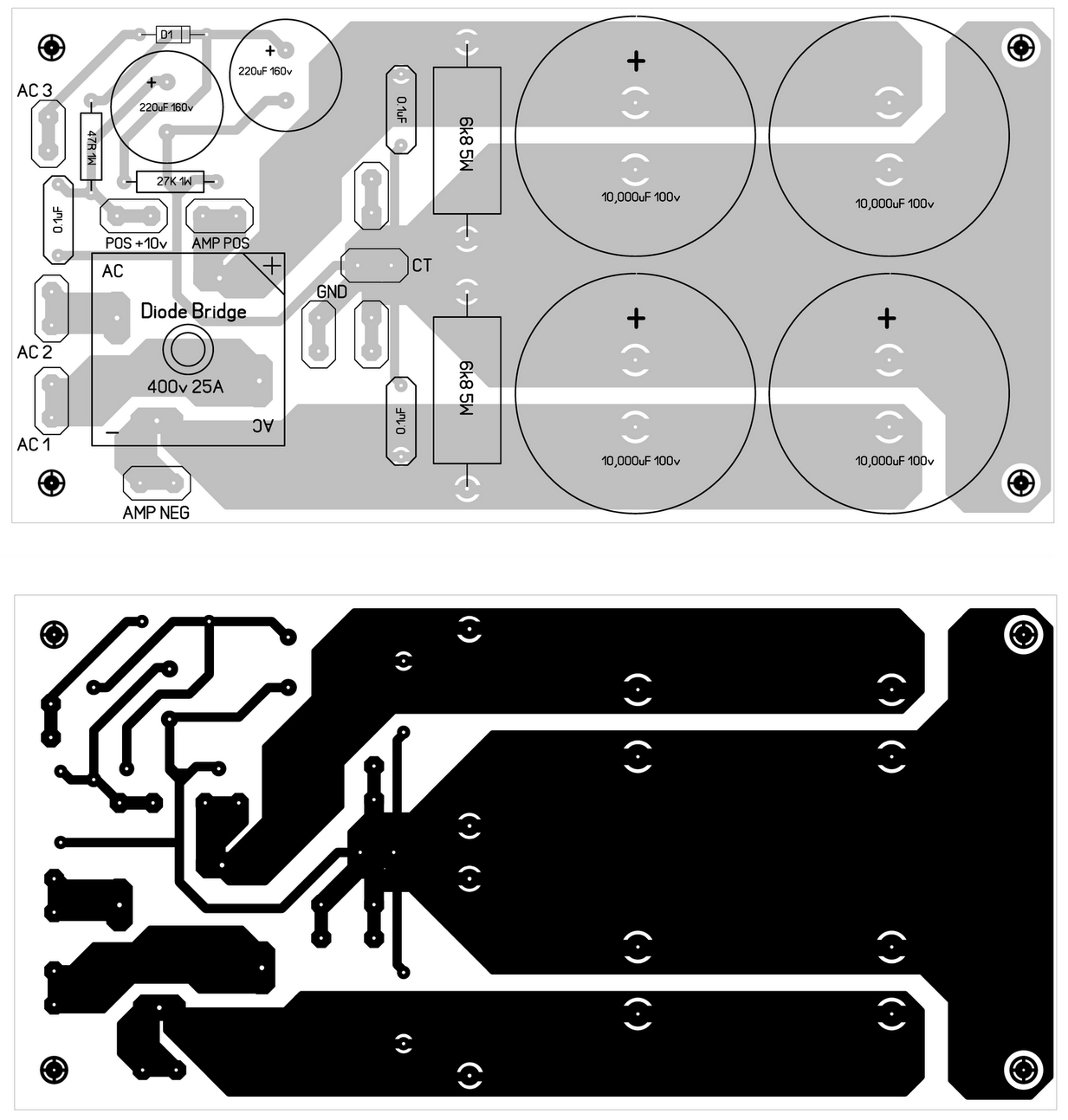 audio amplifier circuit diagram with layout 92 honda accord engine 600w mosfet power design pcb