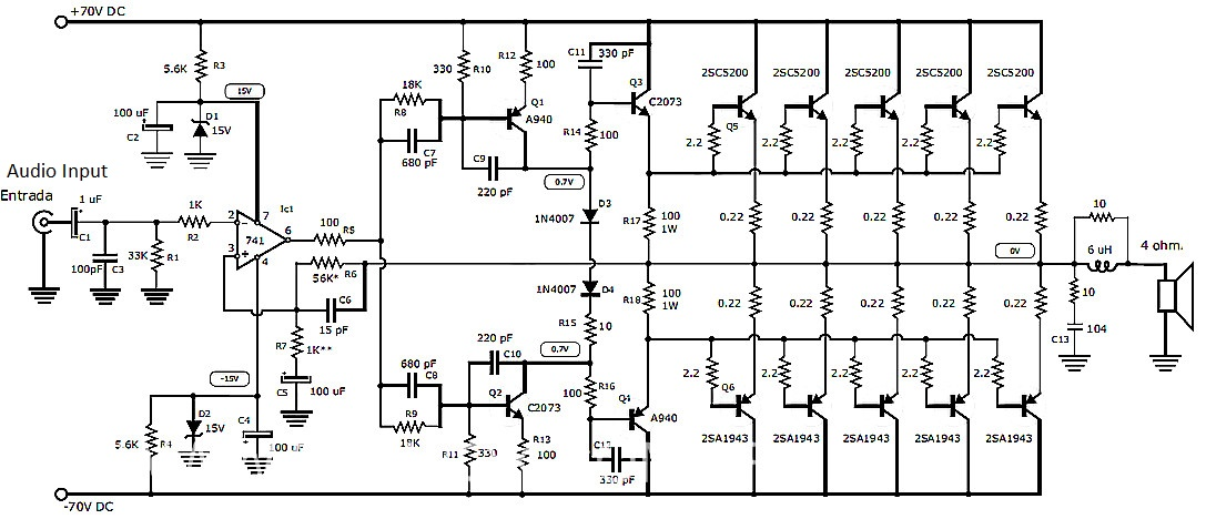 1000 watt inverter circuit diagram 1995 acura integra stereo wiring audio amplifier with transistors 2sc5200 and 2sa1943