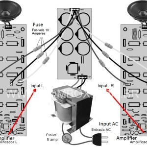 Stereo 1000W Audio Amplifier Connection