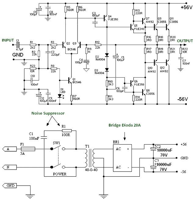 150w Power Amplifier Using Transistor Amplifier Circuit Design