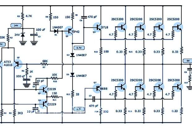 Amplifier Circuit Design - Amplifier Project Scheme Diagram