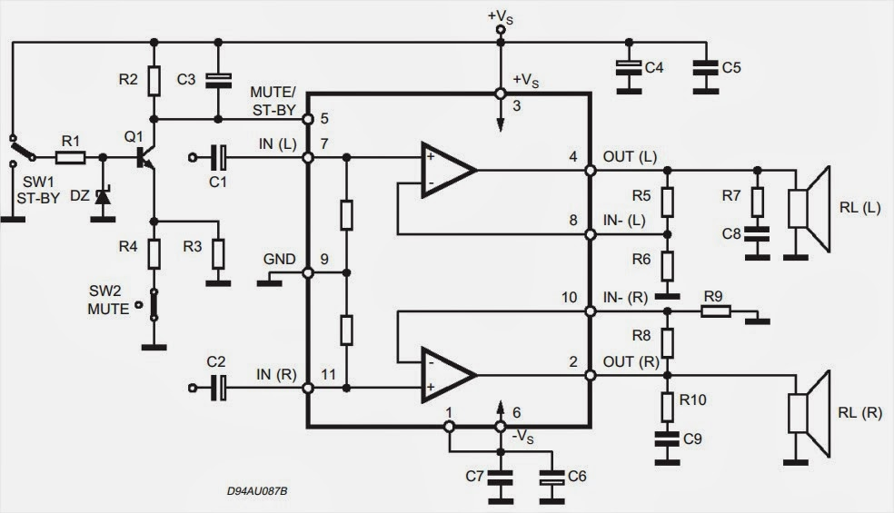 TDA7265 subwoofer circuit diagram
