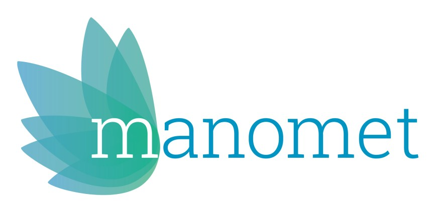 Abstract logo. Words: Manomet.
