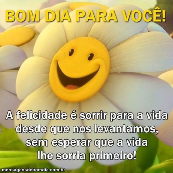 Á felicidade está em sorrir para a vida! bom dia