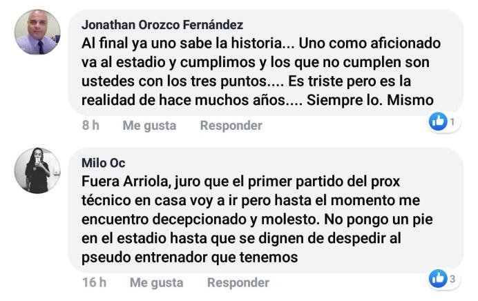 Comentarios tomados del Facebook del Cartaginés