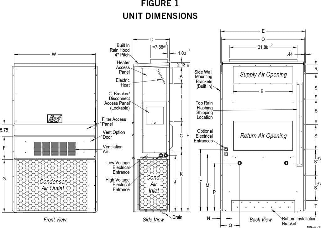 HVAC 5 Ton (230V) with T-Stat & 5KW Heater for Fort Shelter