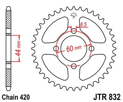 Couronne acier 39 dents JT Sprockets type 832 chaîne 420