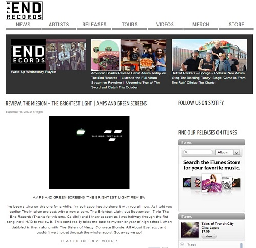 The End Records | AMPS AND GREEN SCREENS 'THE BRIGHTEST LIGHT' REVIEW