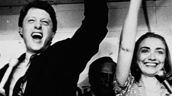 Hillary Clinton and her husband, Bill Clinton, celebrate his victory in the Democratic runoff for Arkansas Governor on June 8, 1982 in Little Rock, Ark. Clinton defeated former Lt. Gov. Joe Purcell.