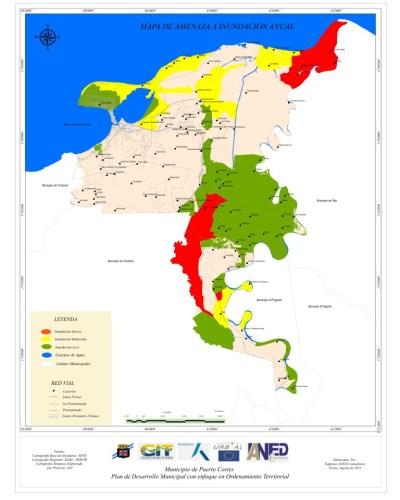 Mapa de amenazas a inundaciones.