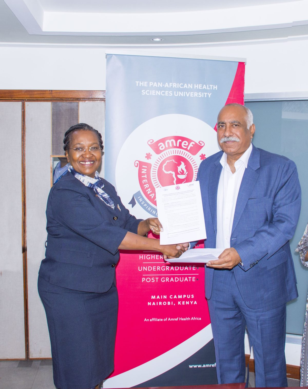 Amref International University (AMIU) Signs Training Partnership With Nairobi West Hospital