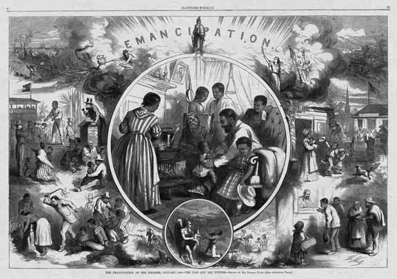 """A Thomas Nast illustration from Harper's Weekly. The caption reads, """"The emancipation of the Negroes, January, 1863—the past and the future."""""""