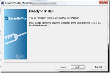 Setting up Securityplus 4.5.0 for Mdaemon (6/6)
