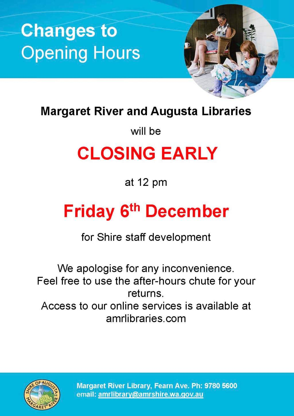 Libraries close at noon on Friday 6th December