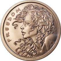 "Freedom Girl, 1.5"" silver bullion"