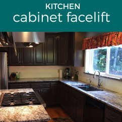 Facelift For Kitchen Cabinets Cute Gadgets Cabinet Re Stain Transformation Before And After