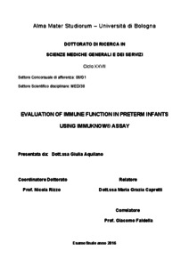Evaluation of immune function in preterm infants using