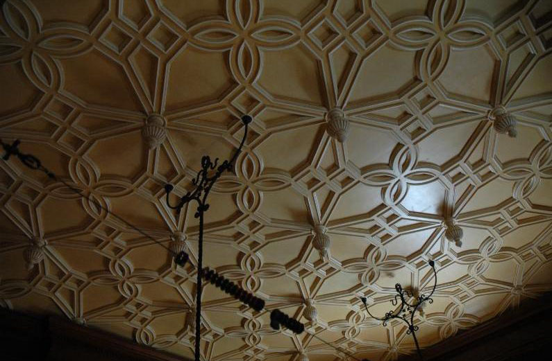 Textured Ceiling in Billiard Room