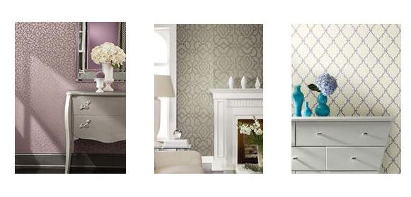 Wallpapers: Purple Patterned, Taupe Patterned & Textured, Blue & White Geometric.