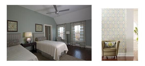 RI Guest Room with green painted walls, and coordinating sheers, & accessories.