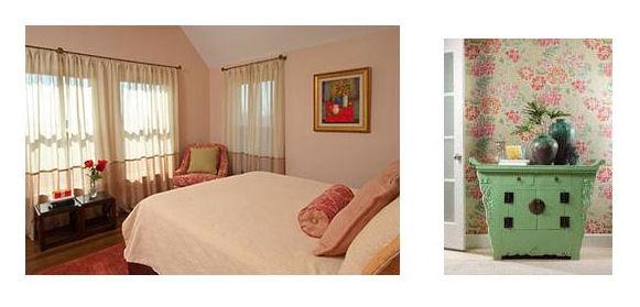 Peach Walls, bedding and accessories. Peach & Green wallpaper.