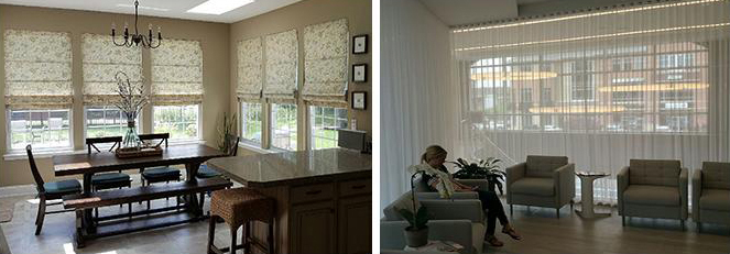 Contemporary patterned Roman shades. Soft contemporary tabbed sheers floor to ceiling.