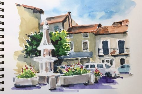 French Village Watercolour Sketch