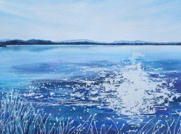 Lac de Jouarres, Homps Direct watercolour on Arches paper with Brusho Framed size 73cm x 53cm
