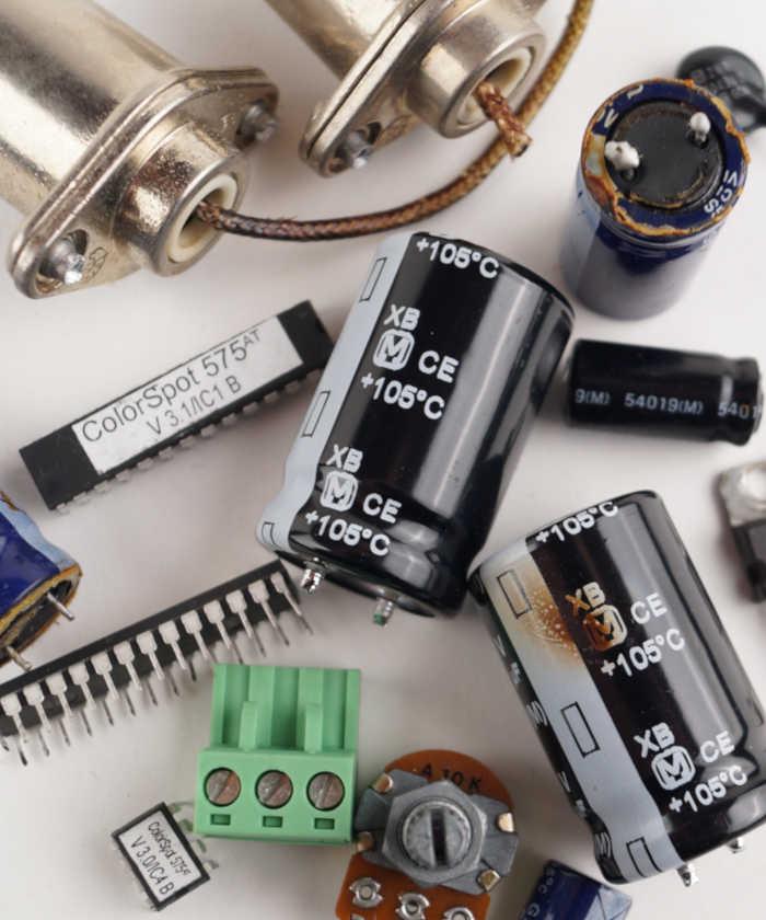 composants divers électroniques condensateurs, ci, potentiomètre bornier douille