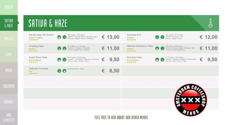Amsterdam Genetics Coffeeshop Boerejongens Menu
