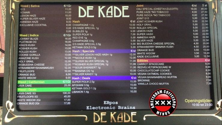 Amsterdam Coffeeshop De kade menu