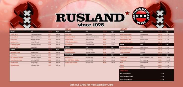 Coffeeshop Rusland menu