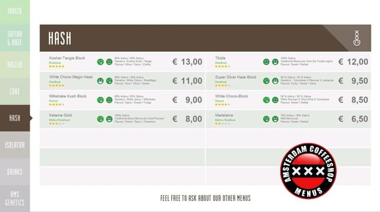 Coffeeshop boerejongens bij menu