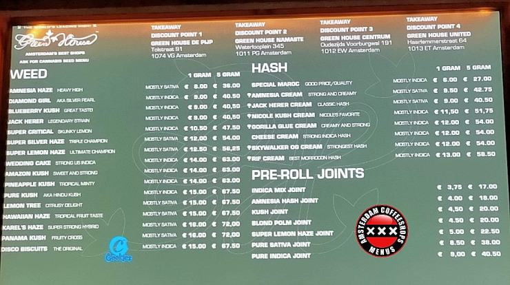 Amsterdam coffeeshop menus