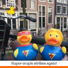 Is it 2 birds, is it 2 planes? No, it's Super Couple! @ Brouwersgracht, Amsterdam