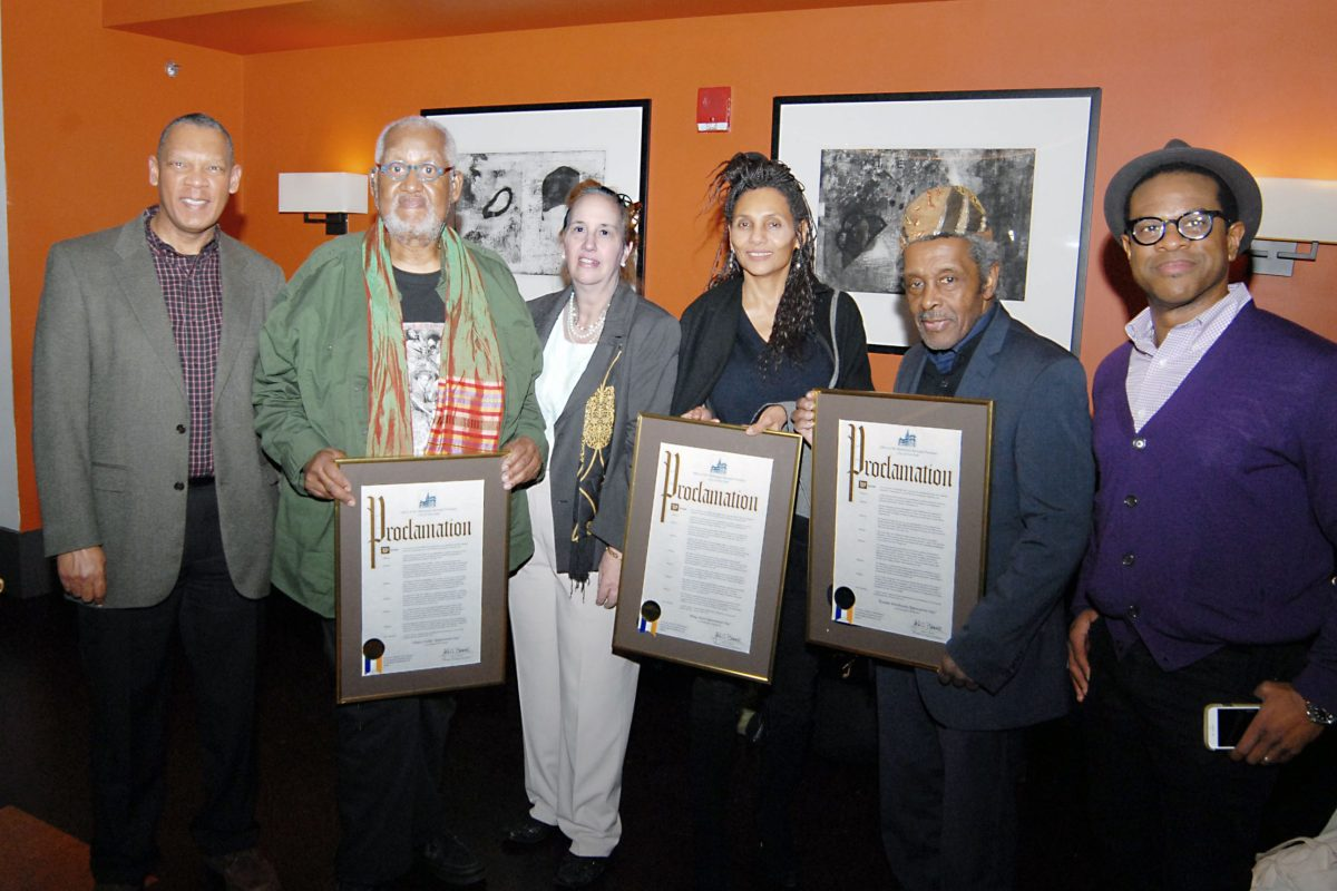 L to R: Don Perry, communications specialist and documentary filmmaker, honoree Ming Smith, Manhattan Borough President Gale Brewer, honorees Shawn Walker and Kwame Brathwaite and Thomas Allen Harris, filmmaker (190498)