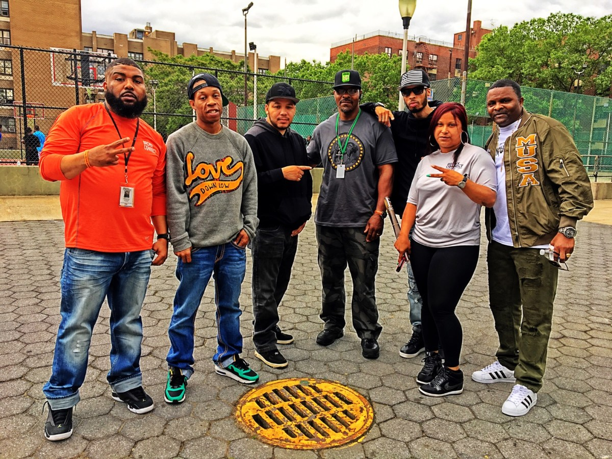 Brooklyn's Man Up Inc. USA Founder and Executive Director A.T. Mitchell, director of their agency Crisis Management System Ronald Robertson and team members from Staten Island'sTrue 2 Life and the Bronx's Release the Grip (240479)