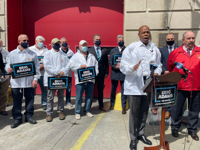 Mayoral candidate Eric Adams being endorsed by the Uniformed Fire Officers Association (303759)