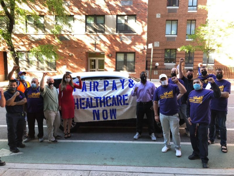 Building service workers protest for better wages and benefits (305208)
