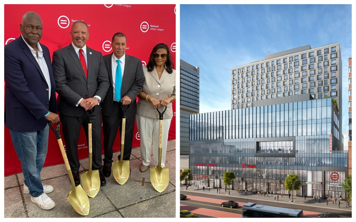 (l-r) Keith Wright, National Urban League President and CEO Marc Morial, former NYS Gov. David Paterson and Assemblywoman Inez Dickens/Rendering of the Urban League Empowerment Center (305693)